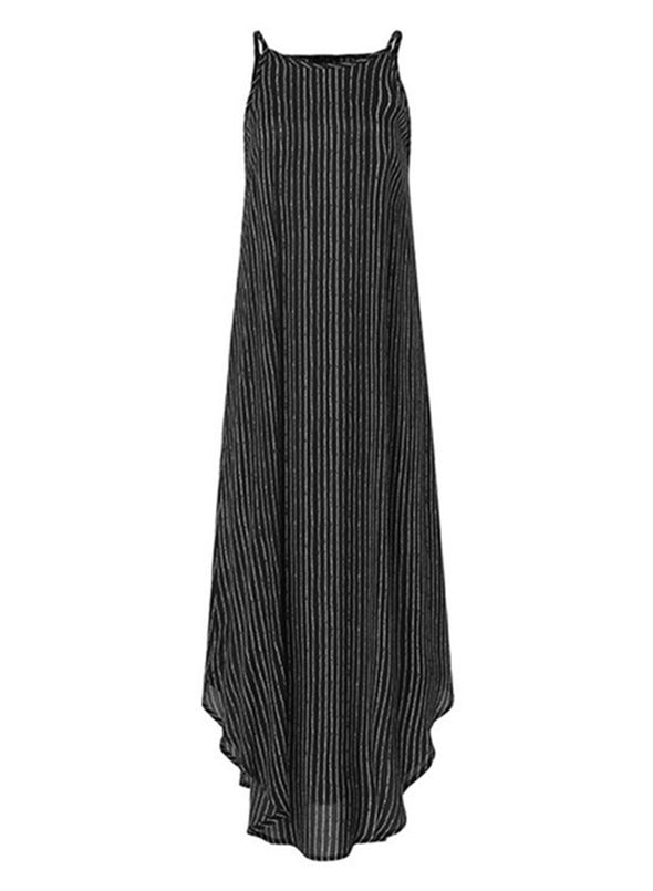 Black Women's Dress Striped A-line Sleeveless Cold Shoulder Round Neck Casual Daily Vacation Maxi Dress LC614061-2