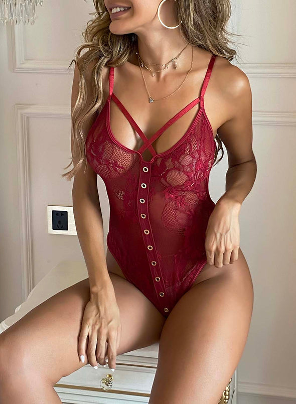 Red Women's Bodysuits Solid Lace Sleeveless Unadjustable Date Sexy Bodysuit LC32756-3