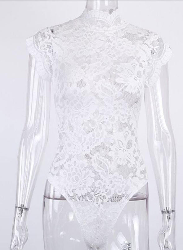 White Women's Bodysuits Solid Sexy Sleeveless Halter Stand Neck One-piece Lace Date Waist Tie Vintage Sexy Bodysuit LC32753-1