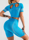 Sky Blue Women's Yoga Clothing Suits Short-sleeve Shorts Slim Yoga Clothing Suit LC260128-4
