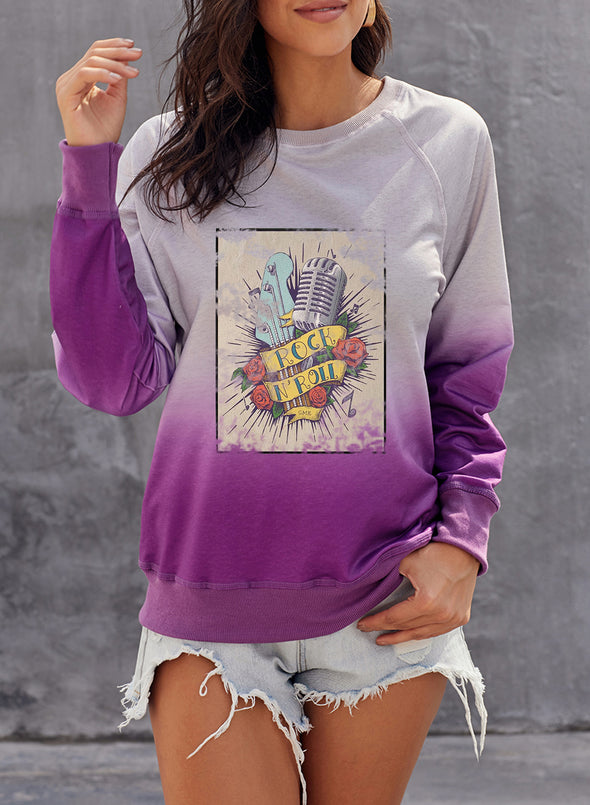 Multicolor Women's Pullovers Color Block Letter Abstract Round Neck Long Sleeve Casual Daily Pullovers LC2516943-22