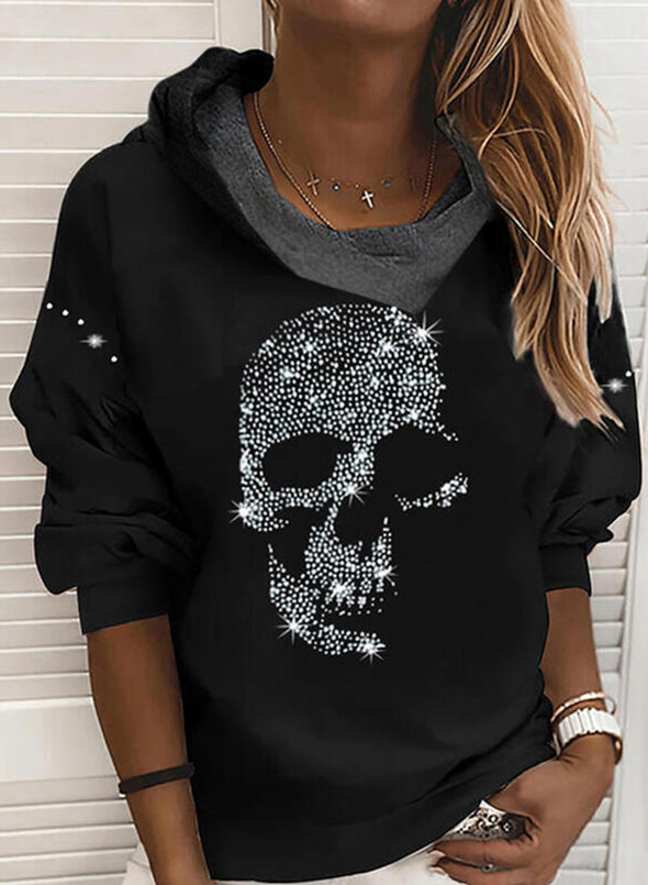 Black Women's Sweatshirts Skull Print Long Sleeve Round Neck Vintage Sweatshirt LC2537626-2