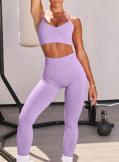 Purple Women's Yoga Clothing Suits Solid Spagetti Sleeveless Slim Full-length Yoga Clothing Suit LC260129-8