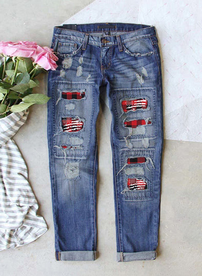Sky Blue Women's Jeans Flag High Waist Slim Jeans LC781041-4