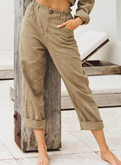 Khaki Women's Palazzo Pants Straight Solid High Waist Full Length Casual Work Palazzo Pants LC771641-16
