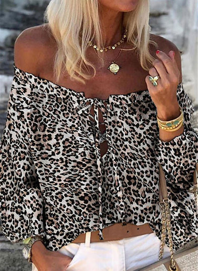 Leopard Women's Shirts Leopard Long Sleeve Off Shoulder Drawstring Daily Casual Shirt LC255899-20