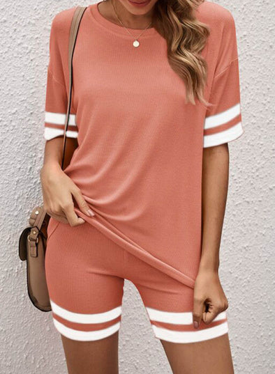Pink Women's Sports Sets Color-block Short Sleeve Round Neck Casual Sports Sets LC261361-10