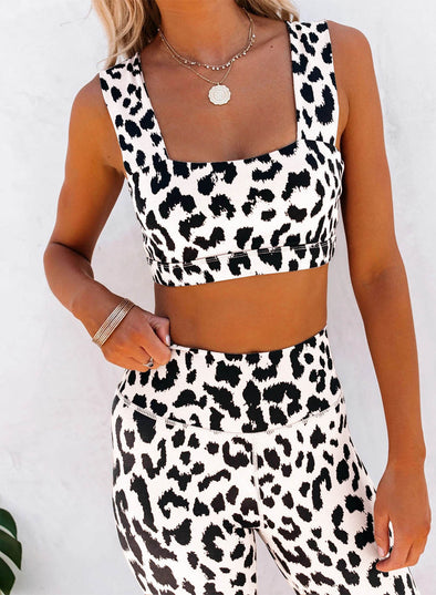 White Women's Sports Sets Leopard Sleeveless Square Neck Daily Casual Sports Sets LC261385-1