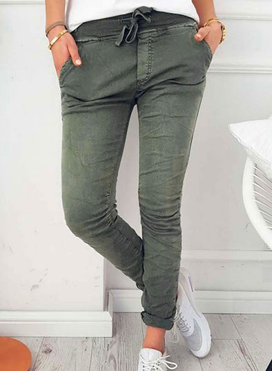 Green Women's Joggers Slim Solid Mid Waist Pocket Drawstring Daily Casual Pants LC771724-9