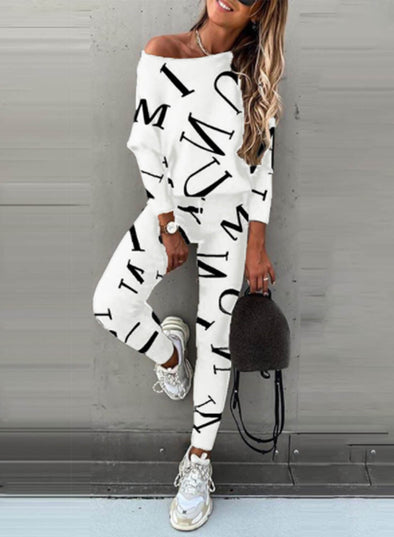 White Women's Sports Suits Casual Letter Long Sleeve Vest Stretch Tights Pants Suit LC261388-1