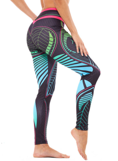 Sky Blue Women's Yoga Pants Multicolor Abstract Portrait Sexy Wrinkled Hips Pants LC260141-4