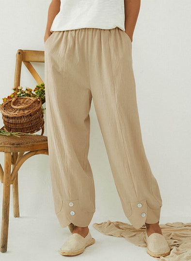 Beige Women's Pants Solid Straight Mid Waist Ankle-length Button Daily Pants LC771728-15