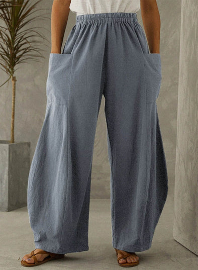 Sky Blue Women's Palazzo Pants Solid Straight High Waist Daily Full Length Casual Pocket Pants LC771732-4