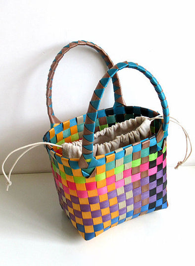 Multicolor Women's Handbags Plaid Color Block Plastic Fashion Basic Handbag LC003737-22