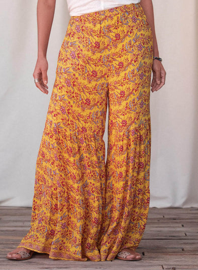 Yellow Women's Palazzo Pants Straight Floral Mid Waist Daily Full Length Casual Pants LC771758-7