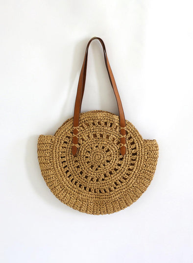 Yellow Women's Handbags Solid Straw Plaited Vintage Boho Handbag LC003742-7