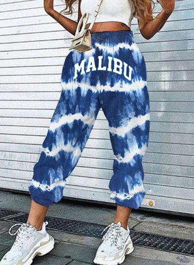 Sky Blue Women's Joggers Tiedye Letter Color Block Straight Mid Waist Daily Ankle-length Casual Sporty Joggers LC771760-4