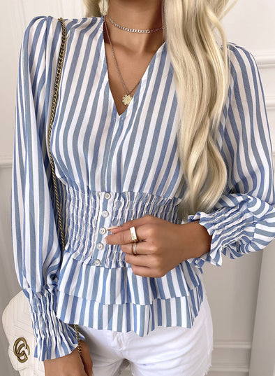 Sky Blue Women's Shirts Striped V Neck Ruffle Long Sleeve Casual Daily Shirts LC2551007-4