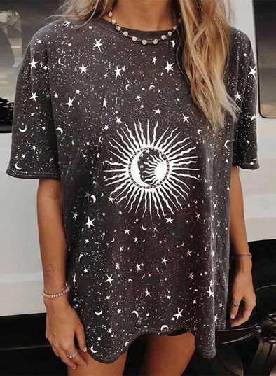 Black Women's T-shirts Color Block Star Sun Moon Print Short Sleeve Round Neck Daily T-shirt LC2525032-2