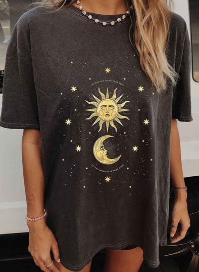 Black Women's T-shirts Color Block Star Sun Moon Print Short Sleeve Round Neck Daily T-shirt LC2525034-2