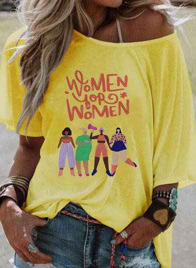Yellow Women's T-shirts Letter Print Short Sleeve Round Neck Daily T-shirt LC2525043-7