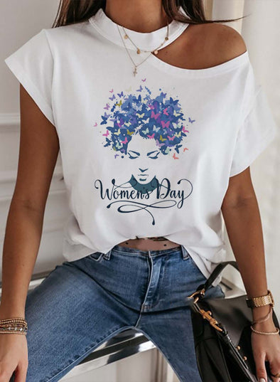 White Women's T-shirts Portrait Letter Print Short Sleeve Cold Shoulder Daily T-shirt LC2525049-1