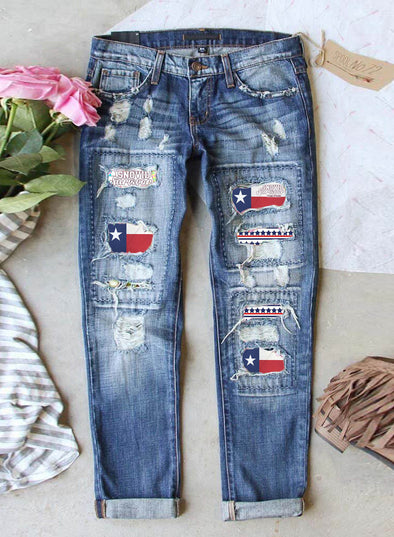 Blue Women's Jeans Straight Letter Flag Star Mid Waist Cut-out Ankle-length Casual Jeans LC781704-5