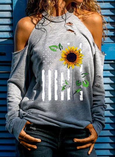 Gray Women's T-shirts Flag Sunflower Cold Shoulder T-shirt LC2517667-11