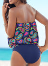 Blue Women's Tankinis Tribal Off Shoulder Tankinis LC412871-5