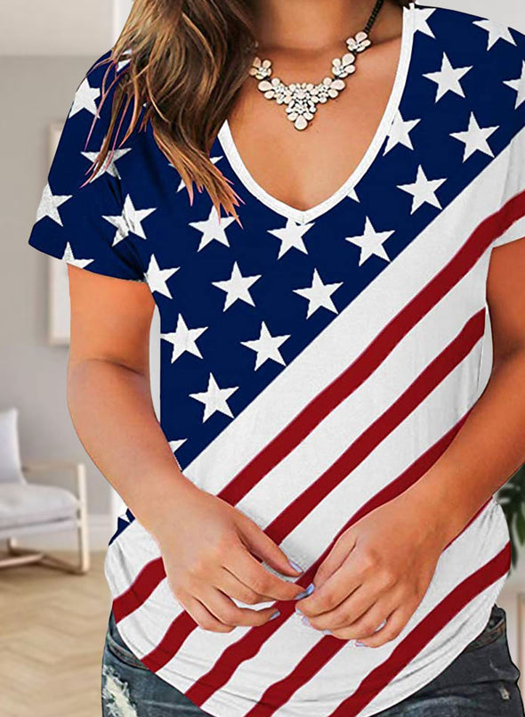 Multicolor Women's T-shirts Flag V Neck T-shirts LC2526007-22