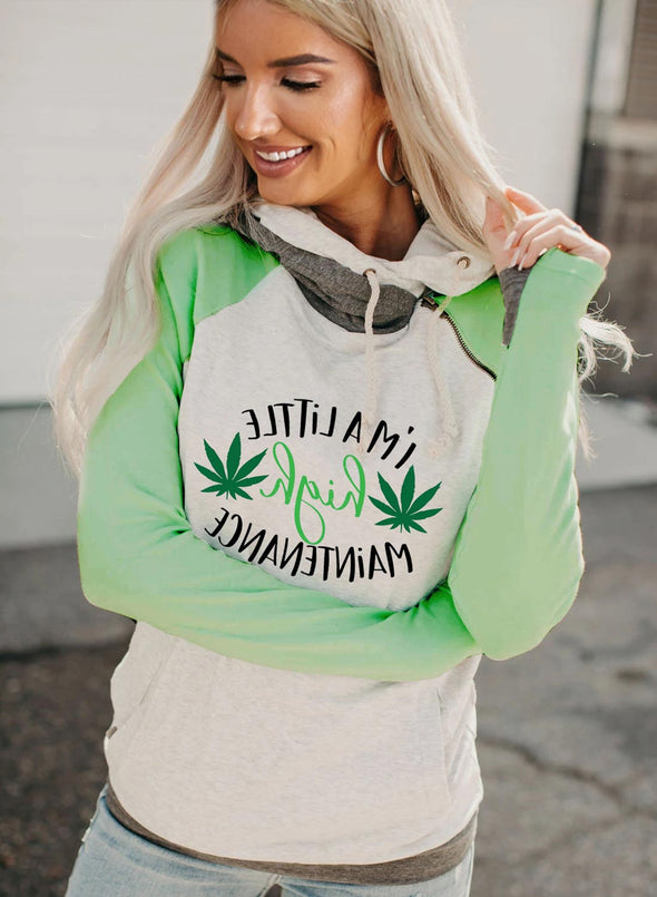 Women's Hoodies Drawstring High Neck Long Sleeve Color Block I'm A Little High Maintenance Letter Print Casual Hoodies