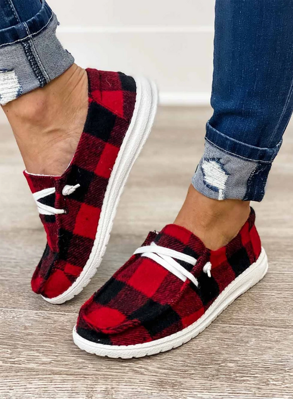 Women's Canvas Shoes Red Plaid Buffalo Plaid Slip On Canvas Shoes