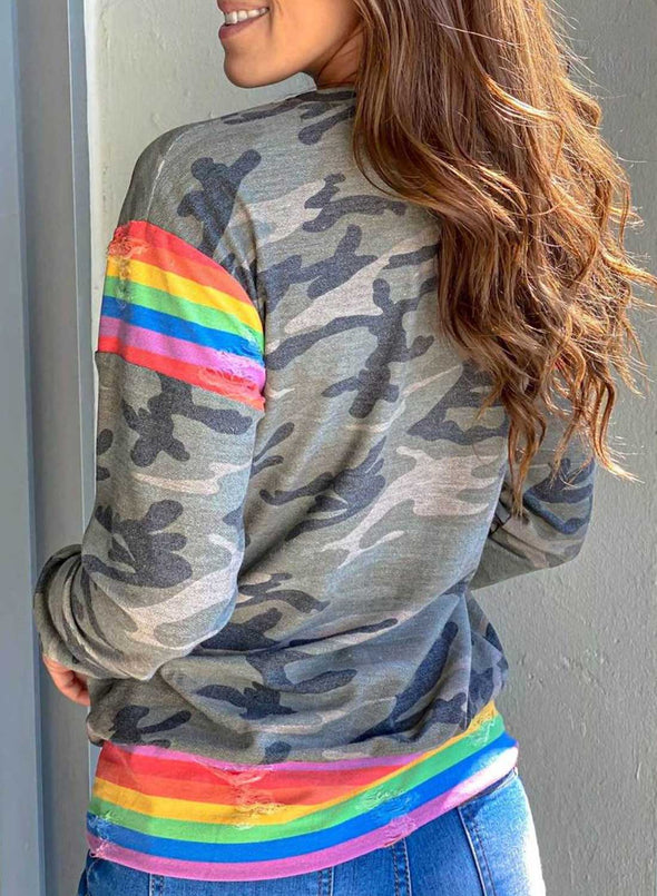Green Camouflage Rainbow  printing Top