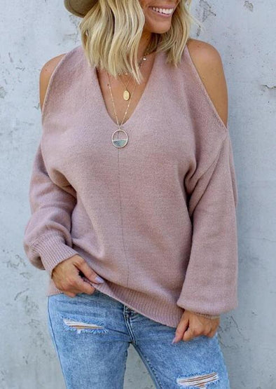 Women v-neck off-shoulder sweater Two wearing ways