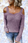 Casual Sling Strapless Solid Color Long Sleeve Sweater