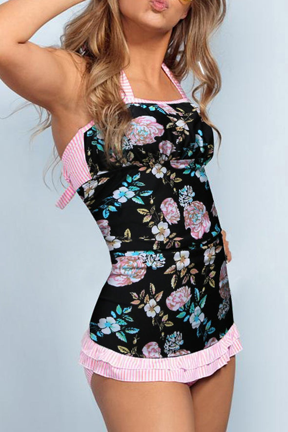 Women's Tankini Sets Floral Open Back Ruched Halter Tankini Top With Mid Waist Bottom Tankini Set