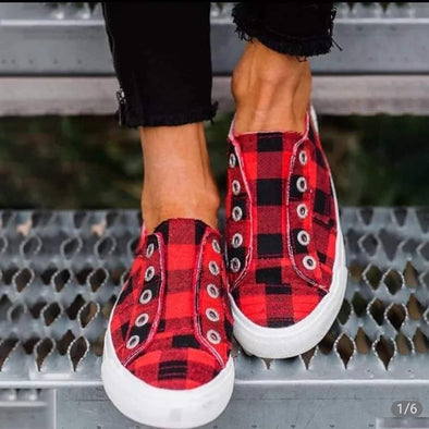 Women's Canvas Sneakers Flat Casual Buffalo Plaid Sneakers