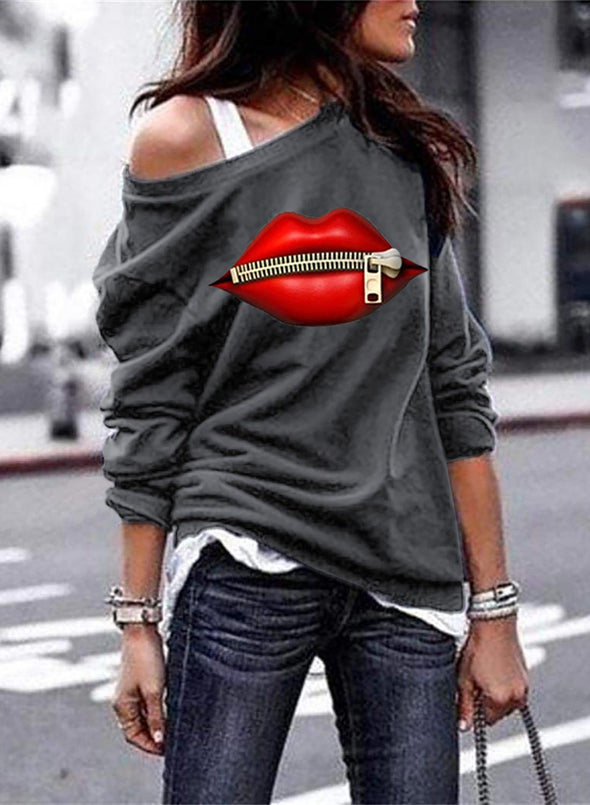 One shoulder Solid Lips Print Long Sleeve Sweatshirt