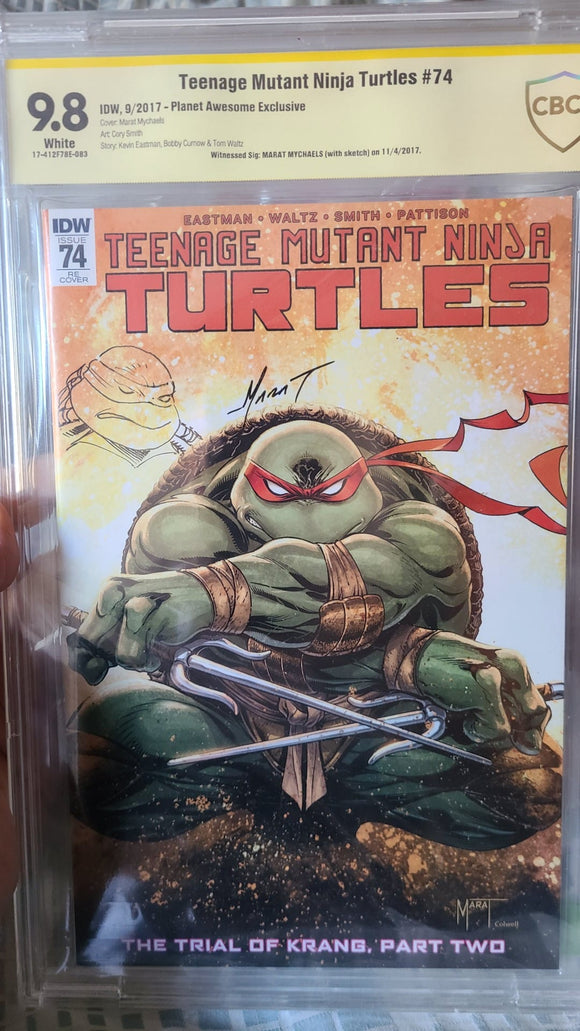 TMNT #74 9.8 SIGNED MARAT MYCHAELS WITH REMARK CBCS