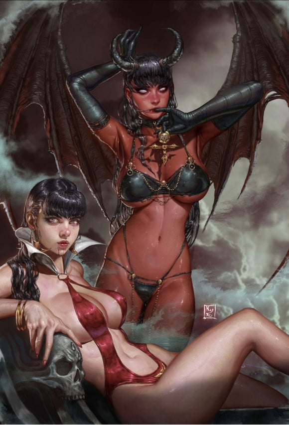 VAMPIRELLA VS. PURGATORI #1 VIRGIN VARIANT BY KYU EOM YOUNG