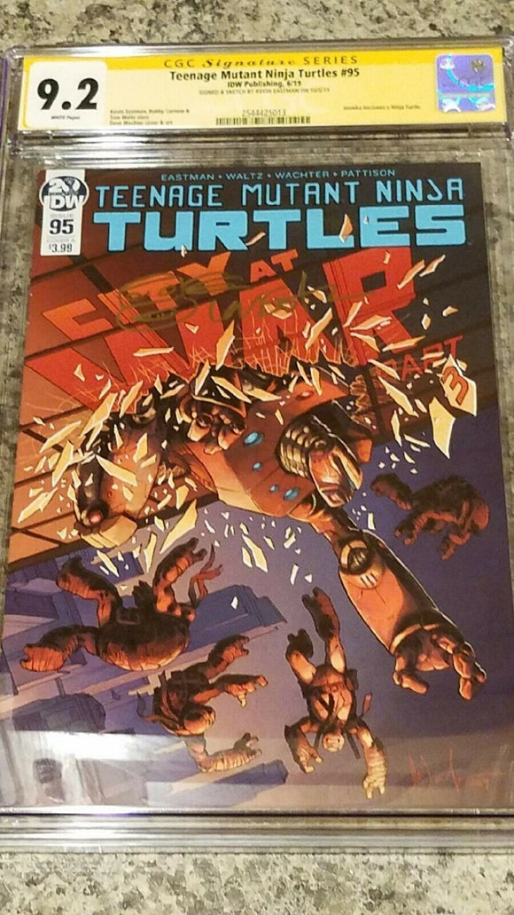 TMNT # 95 1st FEMALE TURTLE 9.2 CGC SS KEVIN EASTMAN REMARK