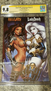 LADY DEATH DAMNATION GAME #1 CGC 9.8 DOUBLE TROUBLE MONTE MOORE EDITION LTD 10