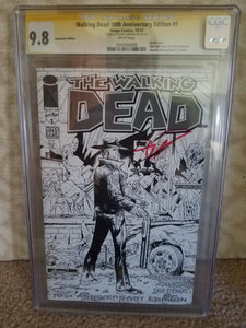WALKING DEAD 10TH ANNIVERSARY EDITION #1 SIGNED ROBERT KIRKHAM 9.8 CGC SS
