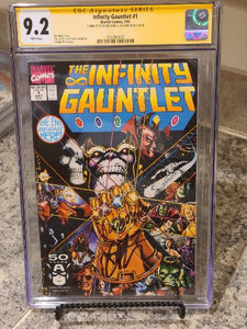 THE INFINITY GAUNTLET #1 CGC 9.2 SS SIGNED X 2