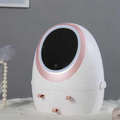 USB Cosmetic Storage Box with LED Light Makeup Mirror