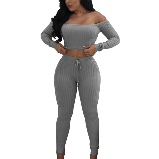 Long Sleeve Women Fitness Tracksuit 2 Piece Set