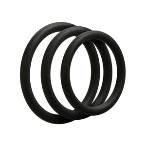Set van 3 siliconen cockrings - Zwart