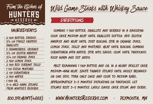 Wild Game with Whiskey Sauce