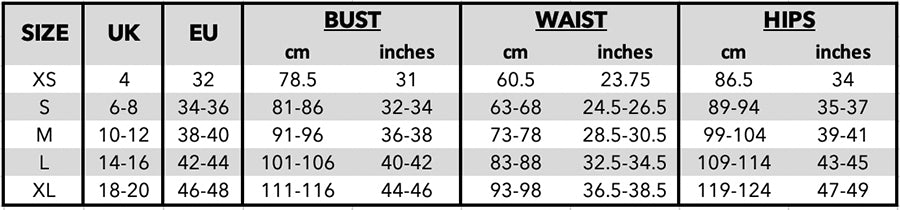 Tattbrand's size guide chart with the standard measurements for XS-XL sizes