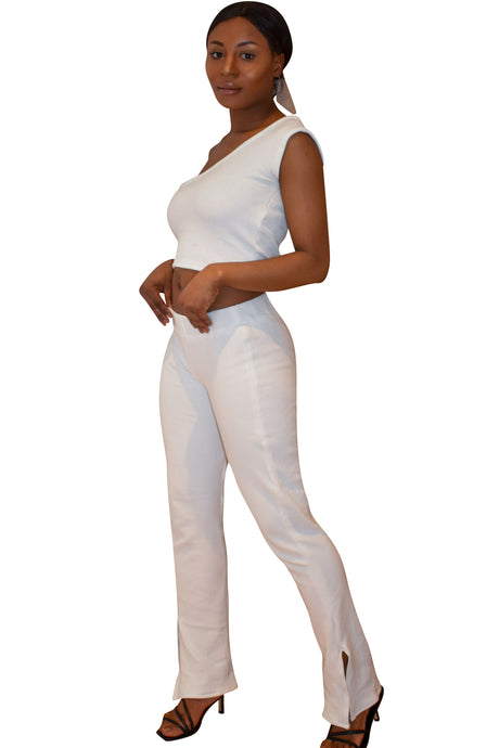 Ribbed White Trousers